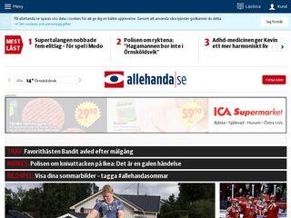 Earlier screenshot of allehanda.se