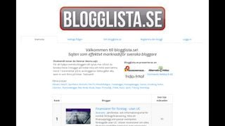 Earlier screenshot of blogglista.se