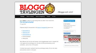 Earlier screenshot of bloggtavlingen.se