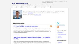 Earlier screenshot of jimwestergren.com