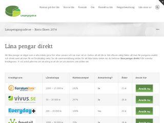 Earlier screenshot of lanapengarguide.se
