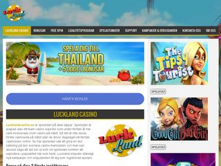 Earlier screenshot of lucklandcasino.se