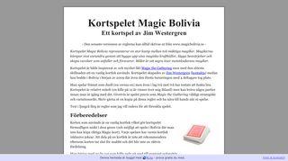 Earlier screenshot of magicbolivia.se