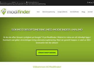 Earlier screenshot of modifinder.se