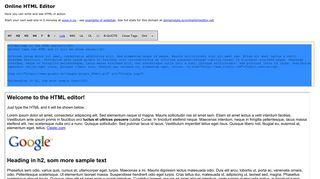 Earlier screenshot of onlinehtmleditor.net