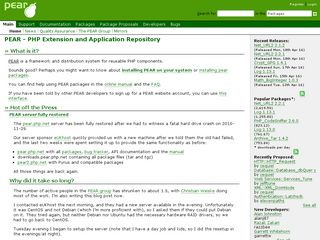 Earlier screenshot of pear.php.net