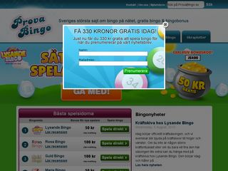 Earlier screenshot of provabingo.se