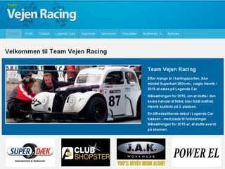 Earlier screenshot of vejenracing.dk
