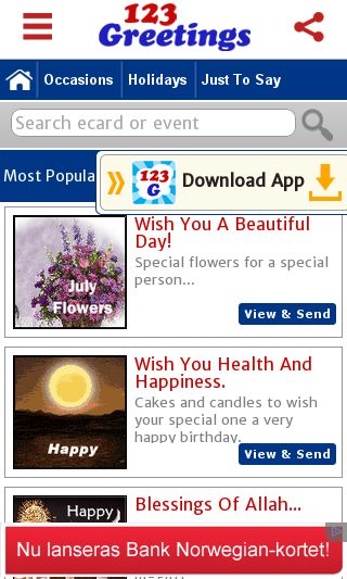 Mobile preview of 123greetings.com