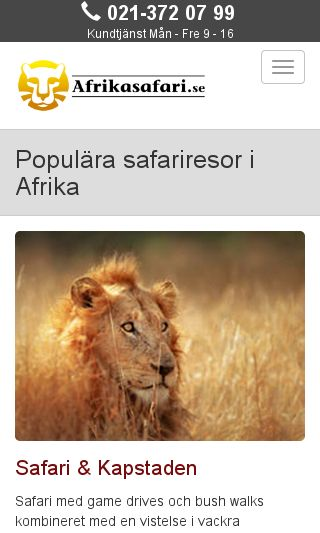 Mobile preview of afrikasafari.se