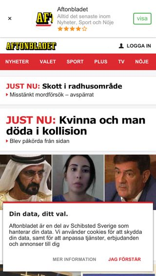 Mobile preview of aftonbladet.se
