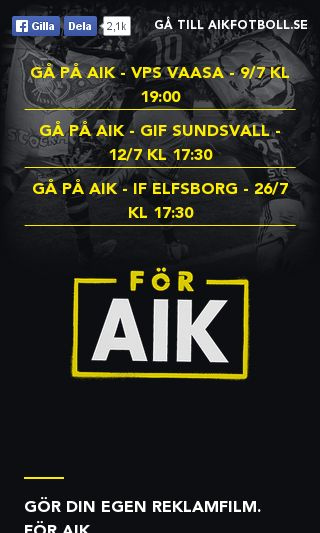 Mobile preview of aikfotboll.se
