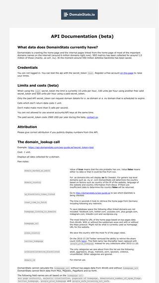 Mobile preview of api.domainstats.com