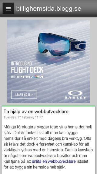 Mobile preview of billighemsida.blogg.se