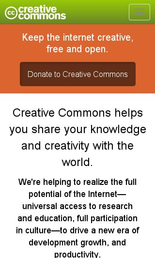 Mobile preview of creativecommons.org
