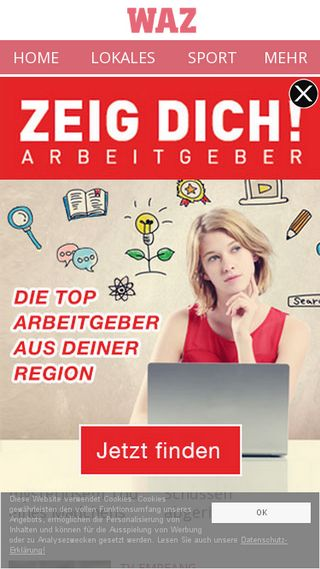 Mobile preview of derwesten.de