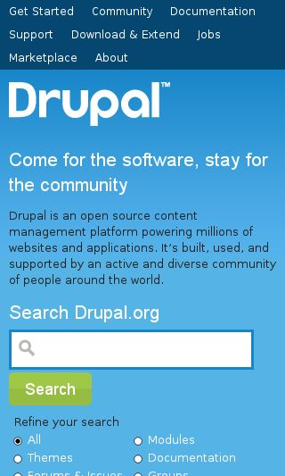 Mobile preview of drupal.org