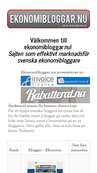 Mobile preview of ekonomibloggar.nu