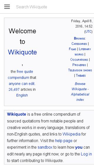 Mobile preview of en.wikiquote.org