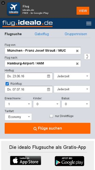 Mobile preview of flug.idealo.de
