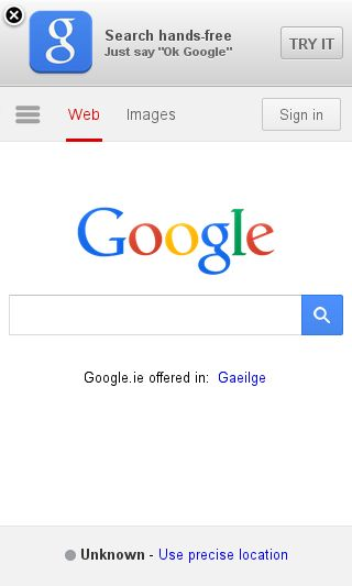 Mobile preview of google.ie