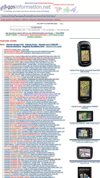 Mobile preview of gpsinformation.net