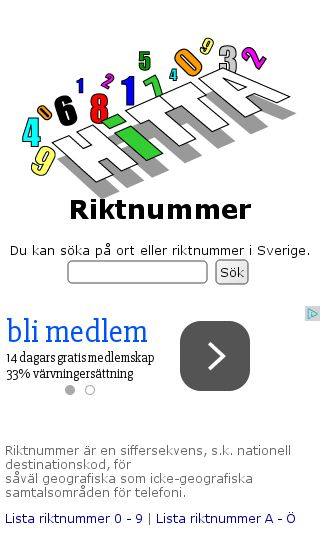 Mobile preview of hittariktnummer.se