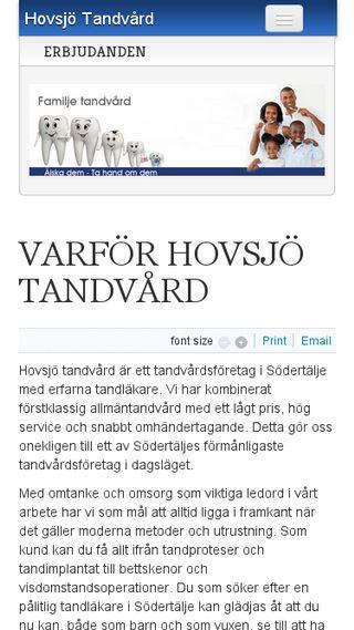Mobile preview of hovsjotandvard.se