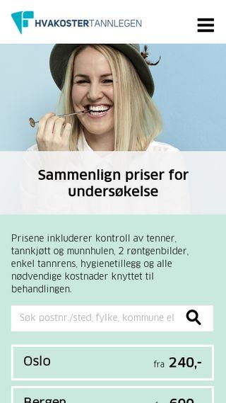 Mobile preview of hvakostertannlegen.no