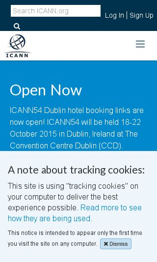 Mobile preview of icann.org