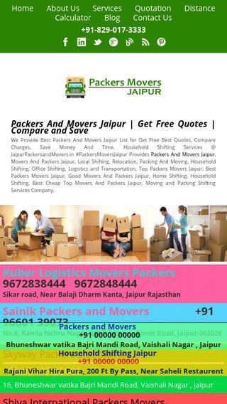 Mobile preview of jaipurpackersandmovers.in