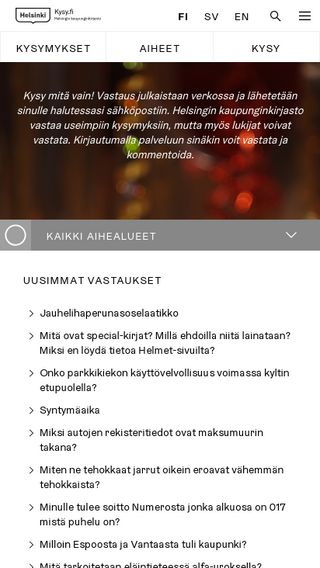 Mobile preview of kysy.fi