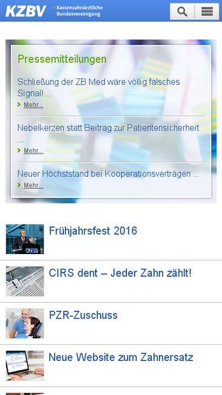 Mobile preview of kzbv.de