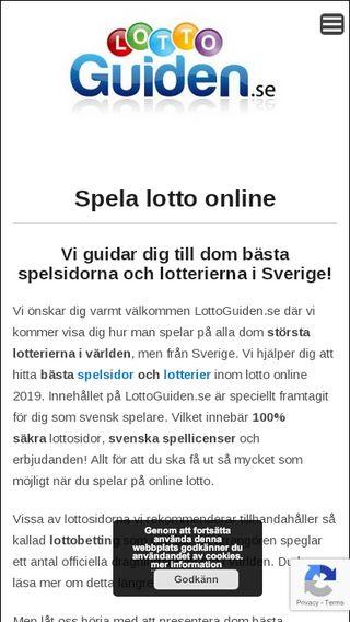Mobile preview of lottoguiden.se