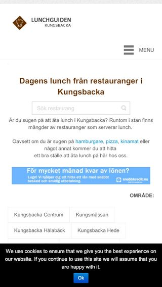 Mobile preview of lunchguidenkungsbacka.se