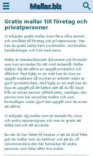 Mobile preview of mallar.biz