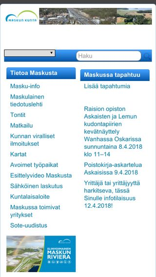 Mobile preview of masku.fi