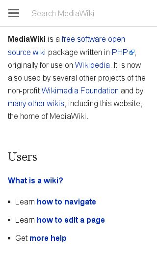 Mobile preview of mediawiki.org