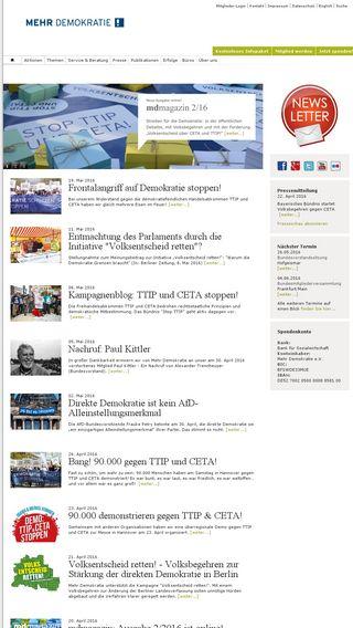 Mobile preview of mehr-demokratie.de