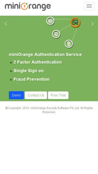 Mobile preview of miniorange.com