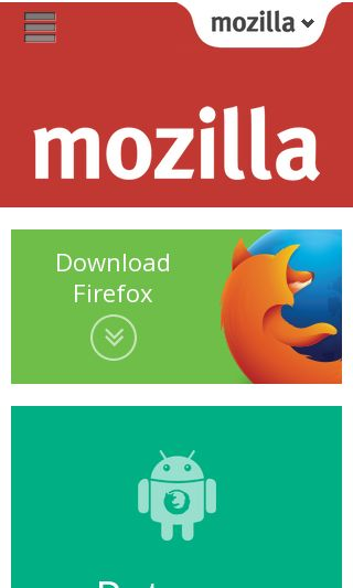 Mobile preview of mozilla.org