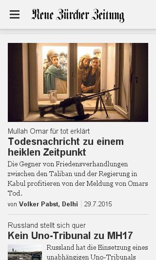 Mobile preview of nzz.ch
