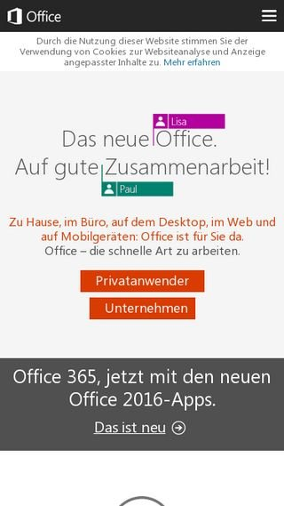 Mobile preview of office.microsoft.com
