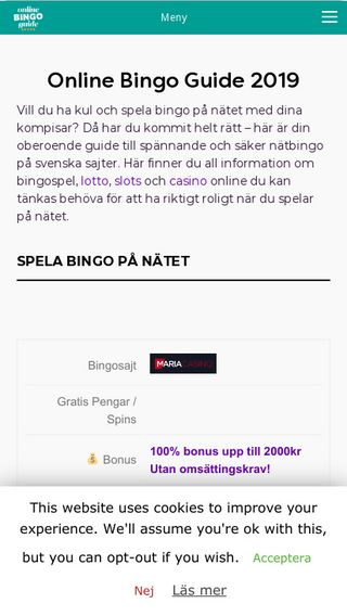 Mobile preview of onlinebingoguide.se