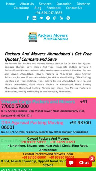 Mobile preview of packersmoversahmedabad.co.in
