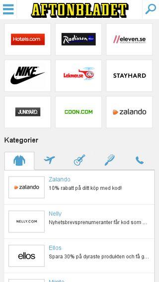 Mobile preview of rabattkoder.aftonbladet.se