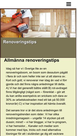 Mobile preview of renoveringstips.nu