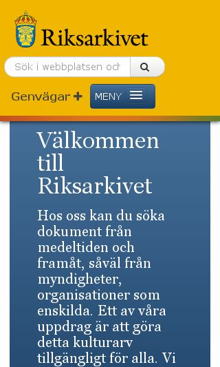 Mobile preview of riksarkivet.se