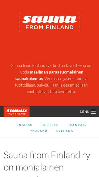 Mobile preview of saunafromfinland.fi