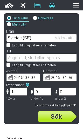 Mobile preview of skyscanner.se